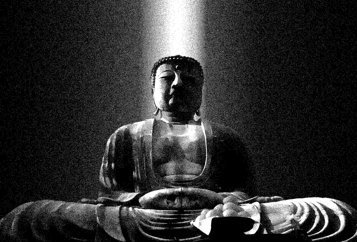 The Daibutsu Buddha at Kamakura #7 - Here it is, reduced to a halftone -- just black and white dots. - The Daibutsu Buddha at Kamakura - shot in Kodachrome with a canon SLR with a 19mm lens - Tony Karp, design, art, photography, techno-impressionist, techno-impressionism, aerial photography , drone , drones , dji , mavic pro , video , 3D printing - Books -