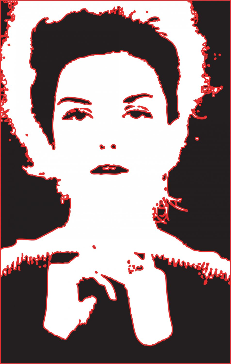 - Once in PostScript, I gave the shapes a nice red outline - A portrait of Donna Mitchell as a young model - 1962 - - art  - photography - by Tony Karp