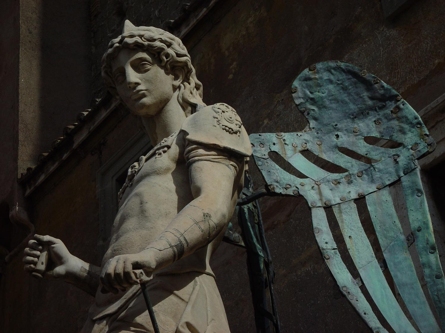 Angel at Castel Sant'Angelo #2 - - Photography becomes art - Making an angel - Angel at Castel Sant'Angelo - Rome, Italy - The archangel Michael decided to sheath his sword and stop killing Romans with plague--this statue by Raffaello da Montelupo (1504–1566) commemorates the end of an epidemic in 590. - Sony DSC-F707 - Tony Karp, design, art, photography, techno-impressionist, techno-impressionism, aerial photography , drone , drones , dji , mavic pro , video , 3D printing - Books -