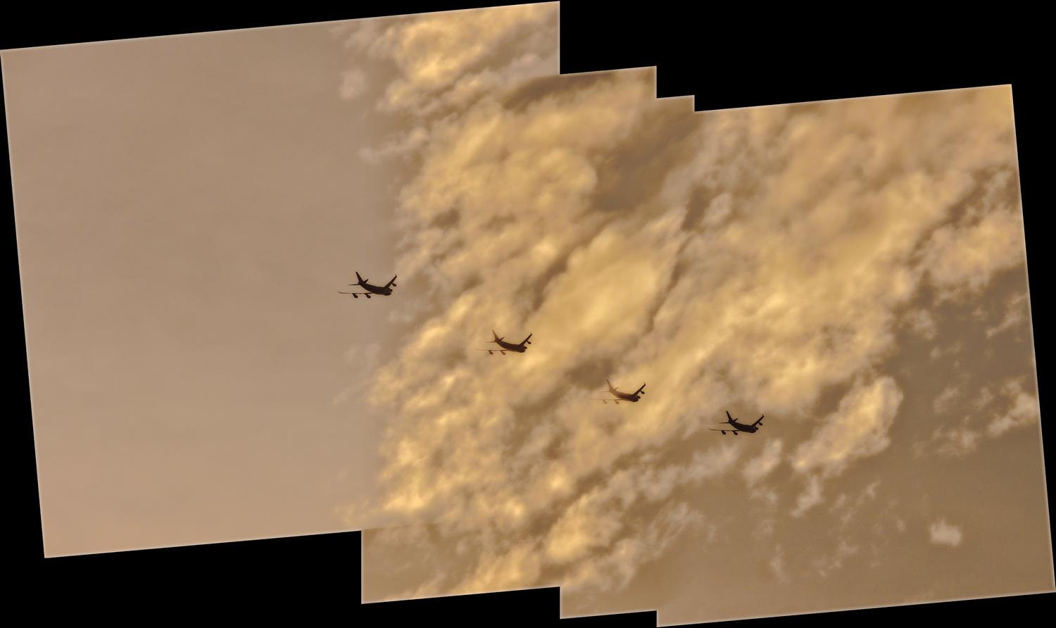 Planes in a line against the clouds - Sky caravan - Panasonic DMC-FZ18 - Tony Karp, design, art, photography, techno-impressionist, techno-impressionism, aerial photography , drone , drones , dji , mavic pro , video , 3D printing - Books -