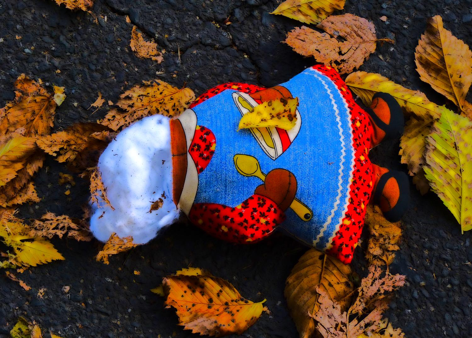 stuffed bear with no head in the leaves  - Warrenton, Virginia-  Panasonic DMC-FZ35 - Not so with Mrs. Bear. It's clear how she met her end. - Tony Karp, design, art, photography, techno-impressionist, techno-impressionism, aerial photography , drone , drones , dji , mavic pro , video , 3D printing - Books -